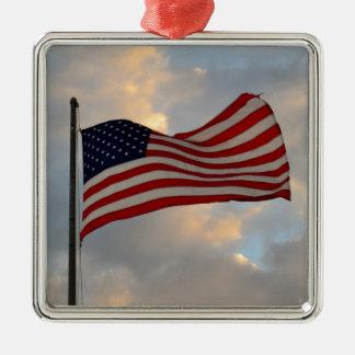 米国旗のオーナメント シルバーカラー正方形オーナメント