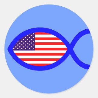 米国旗のキリスト教の魚の記号 ラウンドシール