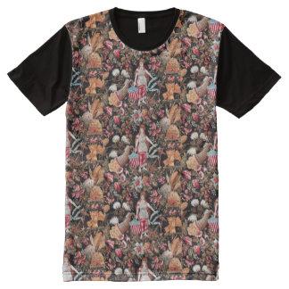 米国旗のグラフィックのTシャツを持つニンフ オールオーバープリントT シャツ