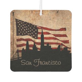 米国旗のサンフランシスコの素朴なスカイライン カーエアーフレッシュナー