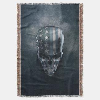 米国旗のスカルのブランケット スローブランケット