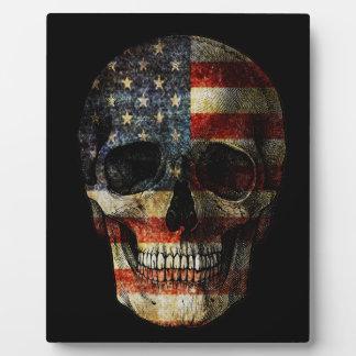 米国旗のスカル フォトプラーク