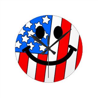 米国旗のスマイリーフェイスの柱時計 ラウンド壁時計