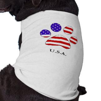 米国旗のティーが付いている足のプリント ペット服
