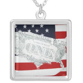 米国旗のデザインの正方形の銀のネックレス シルバープレートネックレス