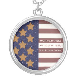 米国旗のネックレス シルバープレートネックレス