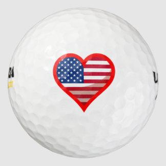 米国旗のハートのロゴ ゴルフボール