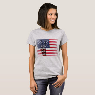 米国旗のピースサインレディースワイシャツ Tシャツ