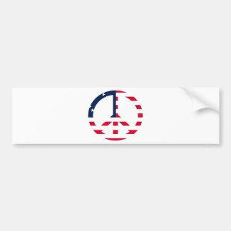 米国旗のピースサイン バンパーステッカー