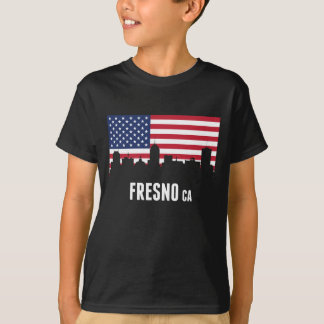 米国旗のフレズノのスカイライン Tシャツ