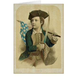 米国旗のメッセージカードを持つヴィンテージの男の子 カード