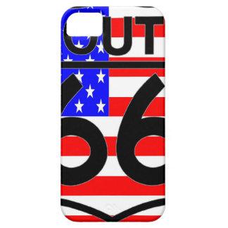 米国旗のルート66の盾の星は及び2つを縞で飾ります iPhone SE/5/5s ケース
