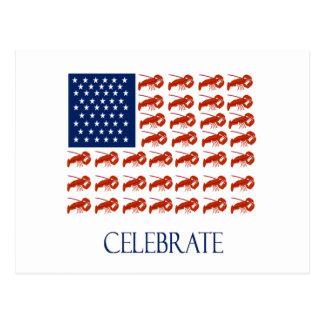 米国旗のロブスターを祝って下さい ポストカード