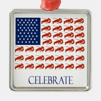 米国旗のロブスターを祝って下さい メタルオーナメント