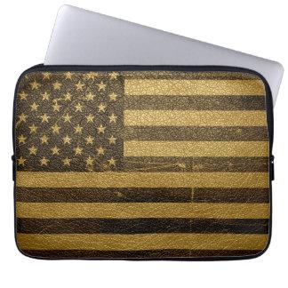 米国旗のヴィンテージの革 ラップトップスリーブ