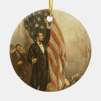 米国旗の下のエイブラハム・リンカーン大統領 セラミックオーナメント