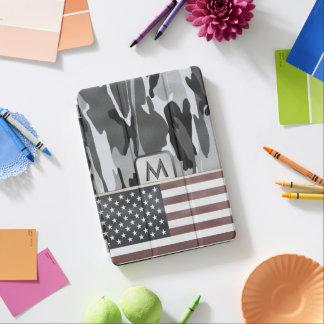 米国旗の冬の迷彩柄のモノグラム iPad AIR カバー