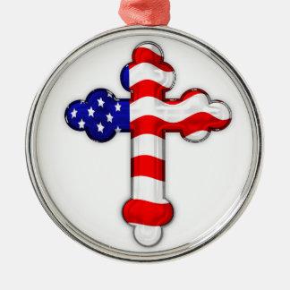 米国旗の十字 メタルオーナメント