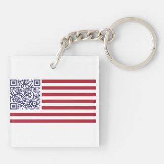 米国旗の国歌QRコード キーホルダー