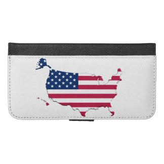 米国旗の地図 iPhone 6/6S PLUS ウォレットケース