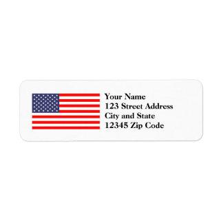 米国旗の差出人住所ラベル ラベル