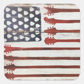米国旗の愛国心が強いギター音楽テーマ スクエアシール