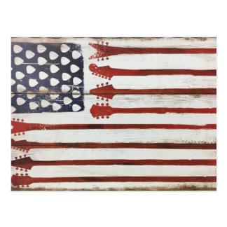 米国旗の愛国心が強いギター音楽テーマ ポストカード