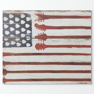 米国旗の愛国心が強いギター音楽テーマ ラッピングペーパー