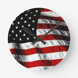 米国旗の愛国心が強い柱時計-黒 ラウンド壁時計