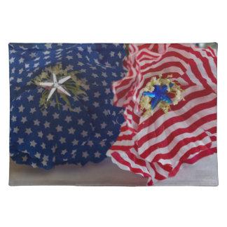 米国旗の愛国心が強い花の花束 ランチョンマット