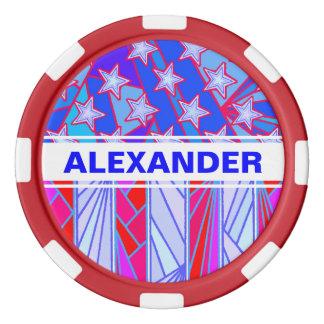 米国旗の愛国心が強い赤く白くおよび青米国 ポーカーチップセット