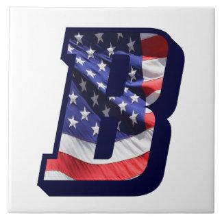 """米国旗の手紙""""B""""の大きい写真のセラミックタイル タイル"""
