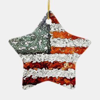 米国旗の抽象芸術 セラミックオーナメント