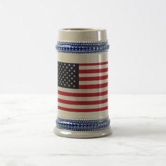 米国旗の星ストライプなステイン ビールジョッキ