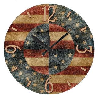米国旗の柱時計 ラージ壁時計
