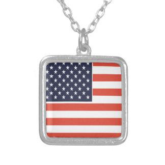 米国旗の正方形のペンダントのネックレス シルバープレートネックレス