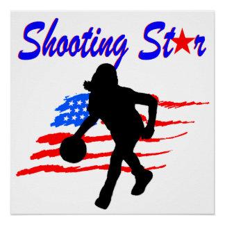 米国旗の流星のバスケットボールの女の子 ポスター