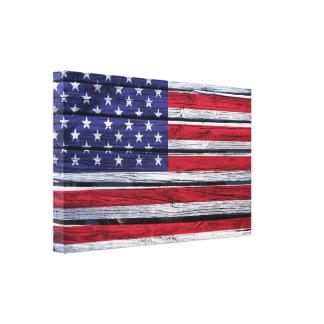 米国旗の素朴な木 キャンバスプリント