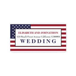 米国旗の結婚式 宛名ラベル