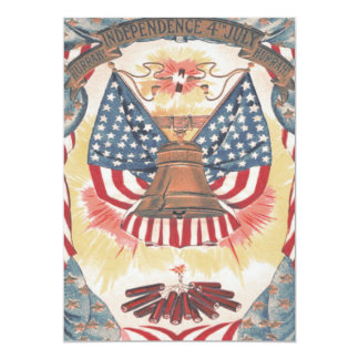 米国旗の自由の鐘の花火 カード