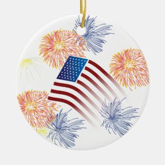 米国旗の花火 セラミックオーナメント