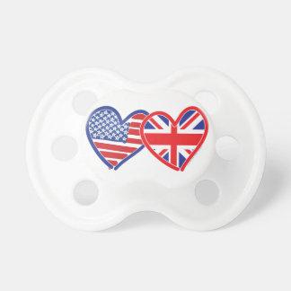 米国旗の英国国旗の旗のハート おしゃぶり