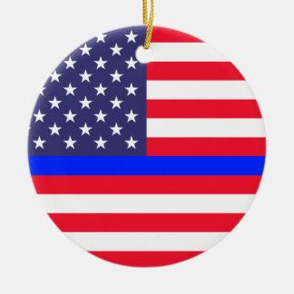 """""""米国旗の薄いブルーライン""""は独身の味方しました セラミックオーナメント"""