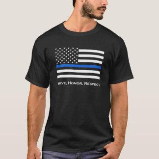 米国旗の薄いブルーライン Tシャツ