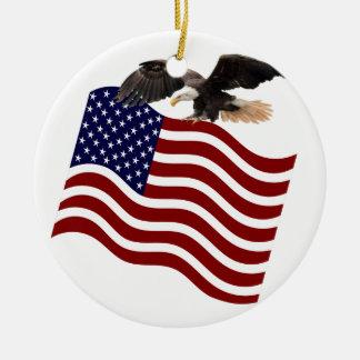米国旗の赤白青の白頭鷲 セラミックオーナメント