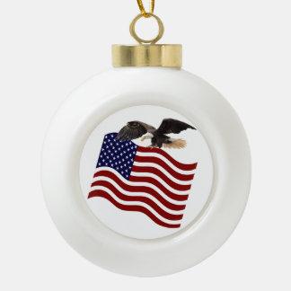 米国旗の赤白青の白頭鷲 セラミックボールオーナメント