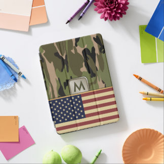 米国旗の迷彩柄のモノグラム iPad AIR カバー
