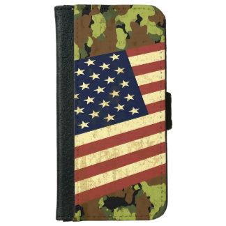 米国旗の迷彩柄 iPhone 6/6S ウォレットケース
