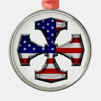 米国旗の鉄の十字 メタルオーナメント