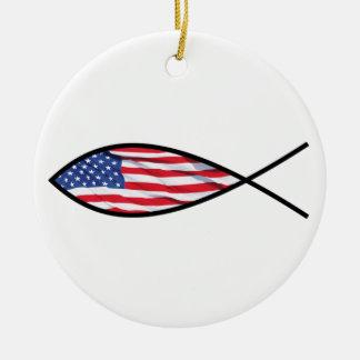 米国旗の魚 セラミックオーナメント